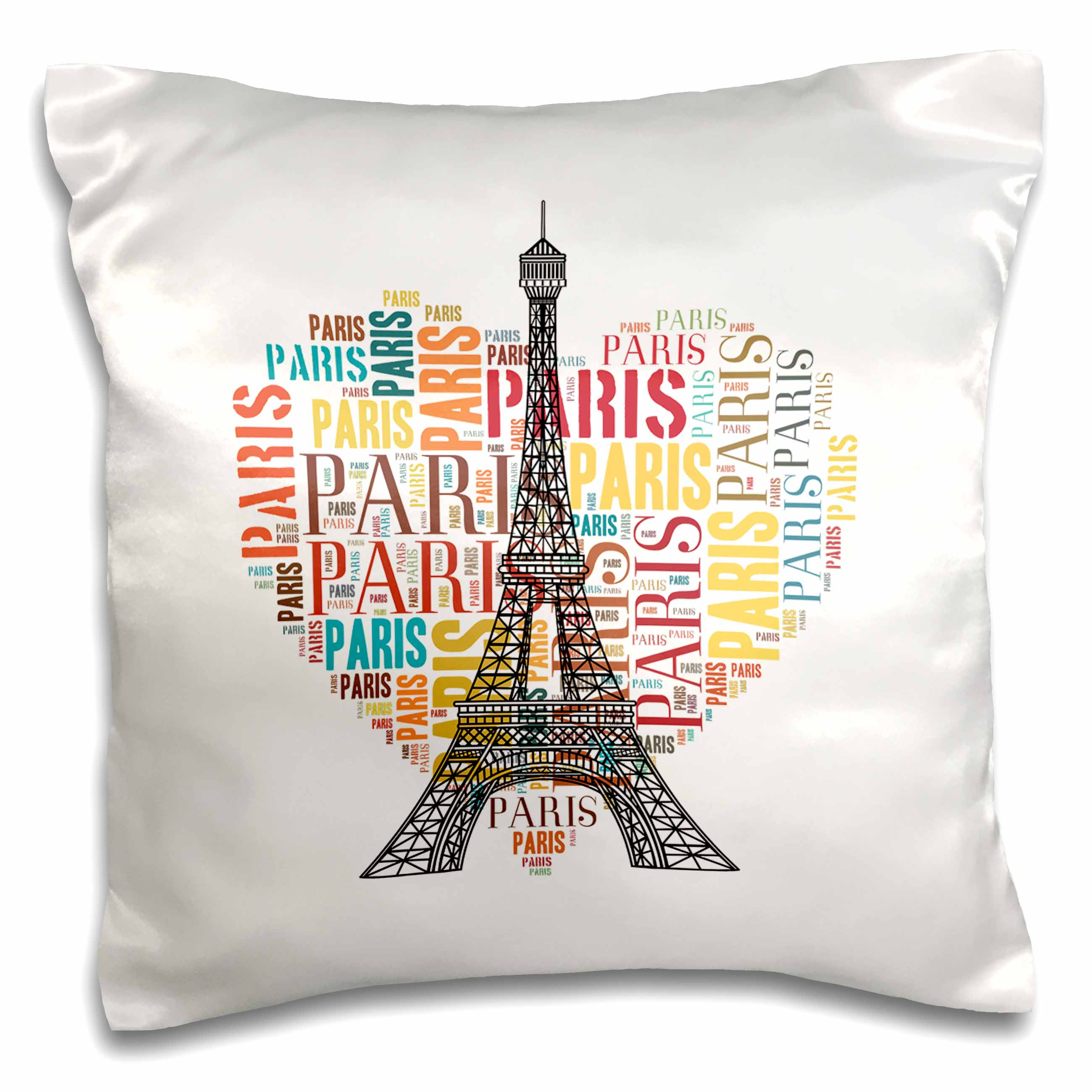 3dRose Eiffel Tower with colorful heart as word cloud design, Pillow Case, 16 by 16-inch