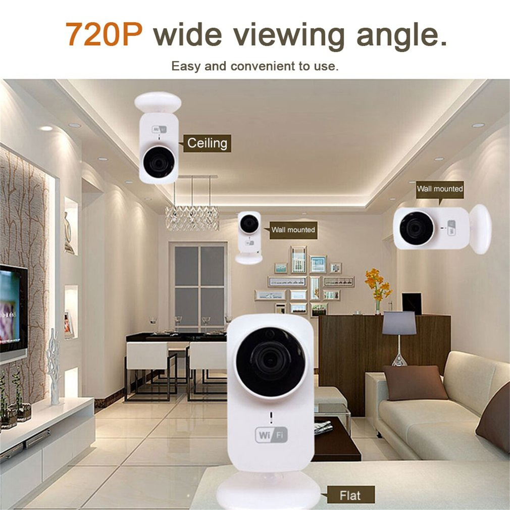 Hot Sale Upgraded Mini Size IP Camera Wifi CCTV Home Security IP Camera 720P Wireless Audio Surveillance Camera HD Night Vision,White