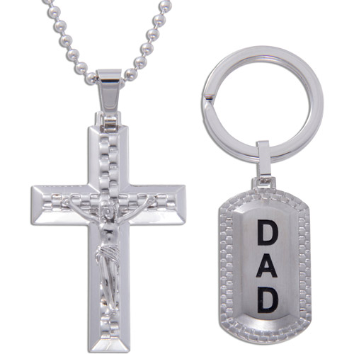 Stainless Steel Cross Crucifix Pendant and Dad Keychain Set