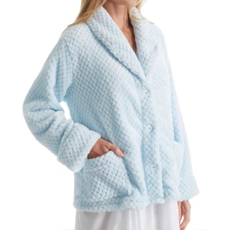 Ruffle Bed Jacket - Women's La Cera 8825 100% Polyester Honeycomb Fleece Bed Jacket