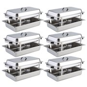 6 Pack Catering Chafing Dish Sets Stainless Steel Buffet Catering Food Warmer by Food Warmers