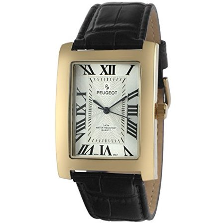 Men's Vintage Rectangular 14K Gold Plated Black Leather Strap Watch (Rectangular Watches)