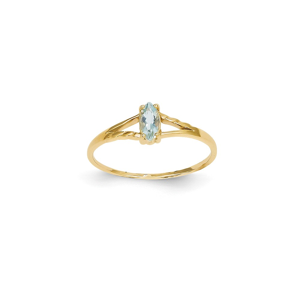 14k Yellow Gold 6x3 Marquise Aquamarine Birthstone Ring