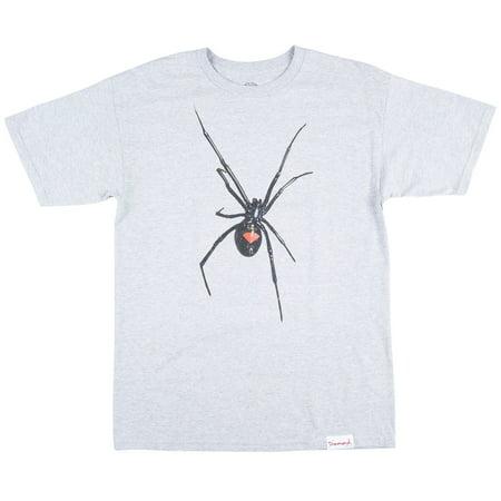 Diamond Supply Widow T-Shirt Spider Streetwear Athletic Heather