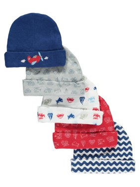 """Cribmates Baby Boys' """"Going Places"""" 5-Pack Infant Caps"""