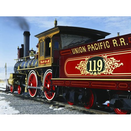 Old Fashioned Steam Train at Golden Spike National Historic Site, Great Basin, Utah Print Wall Art By Scott T. Smith