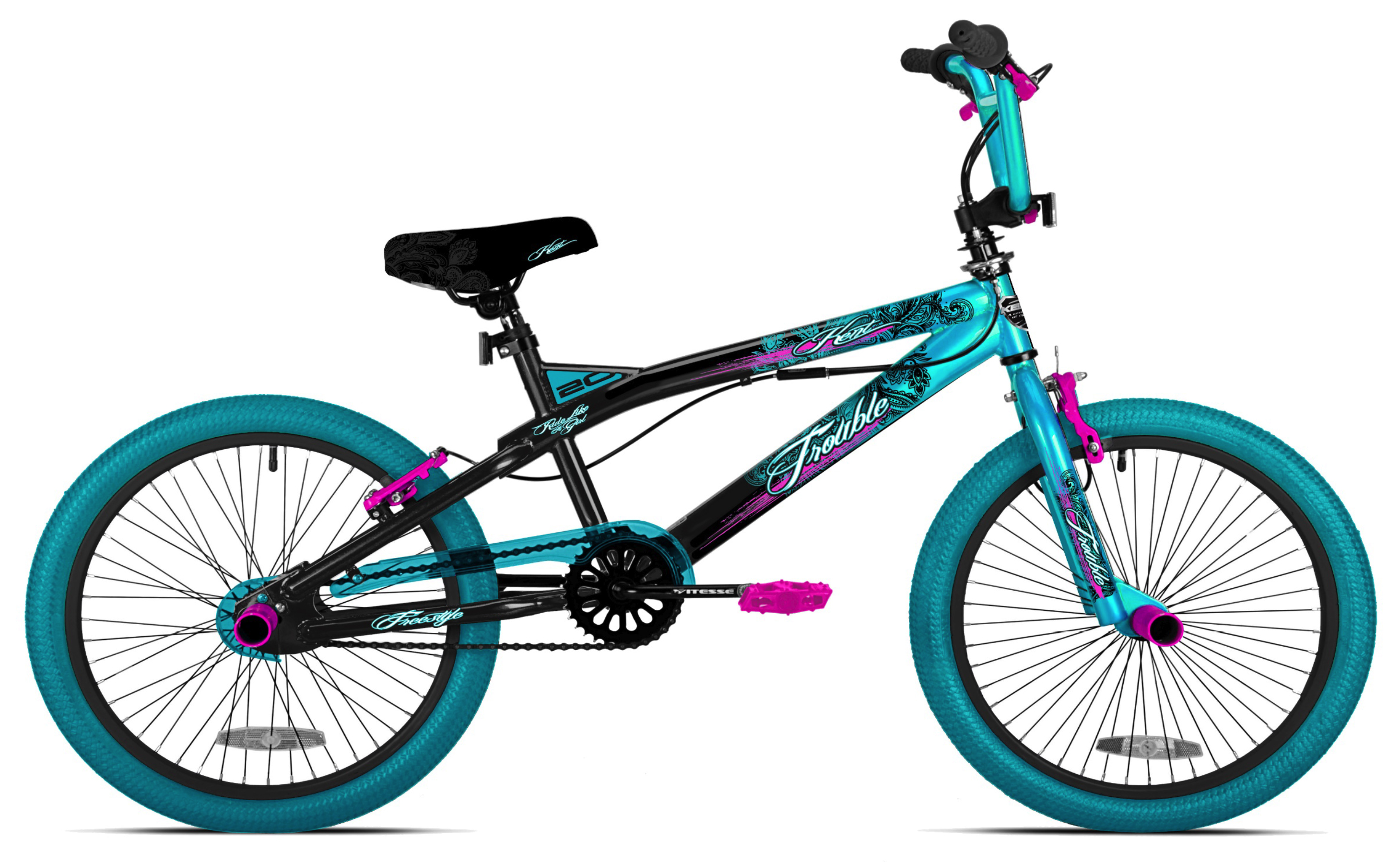 "Kent 20"" Girls Trouble Aqua black Bicycle by Kent International Inc"