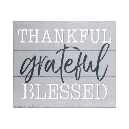Patton Wall Decor Thankful Grateful Blessed Wood Plank Wall Art