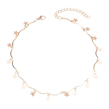 Choker Boho Gold Color Chain Tiny Star Maxi Choker Necklace For Women Tassel Necklaces