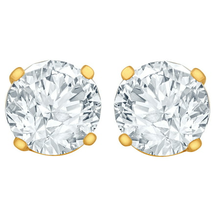 yellow gold stud earrings store diamond tdw ct
