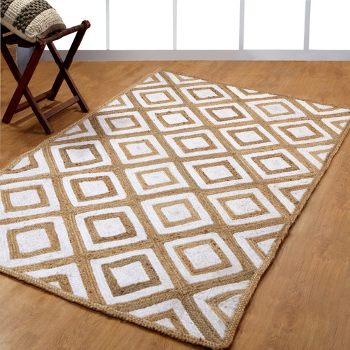 Affinity Linens Hand-Woven White Area Rug