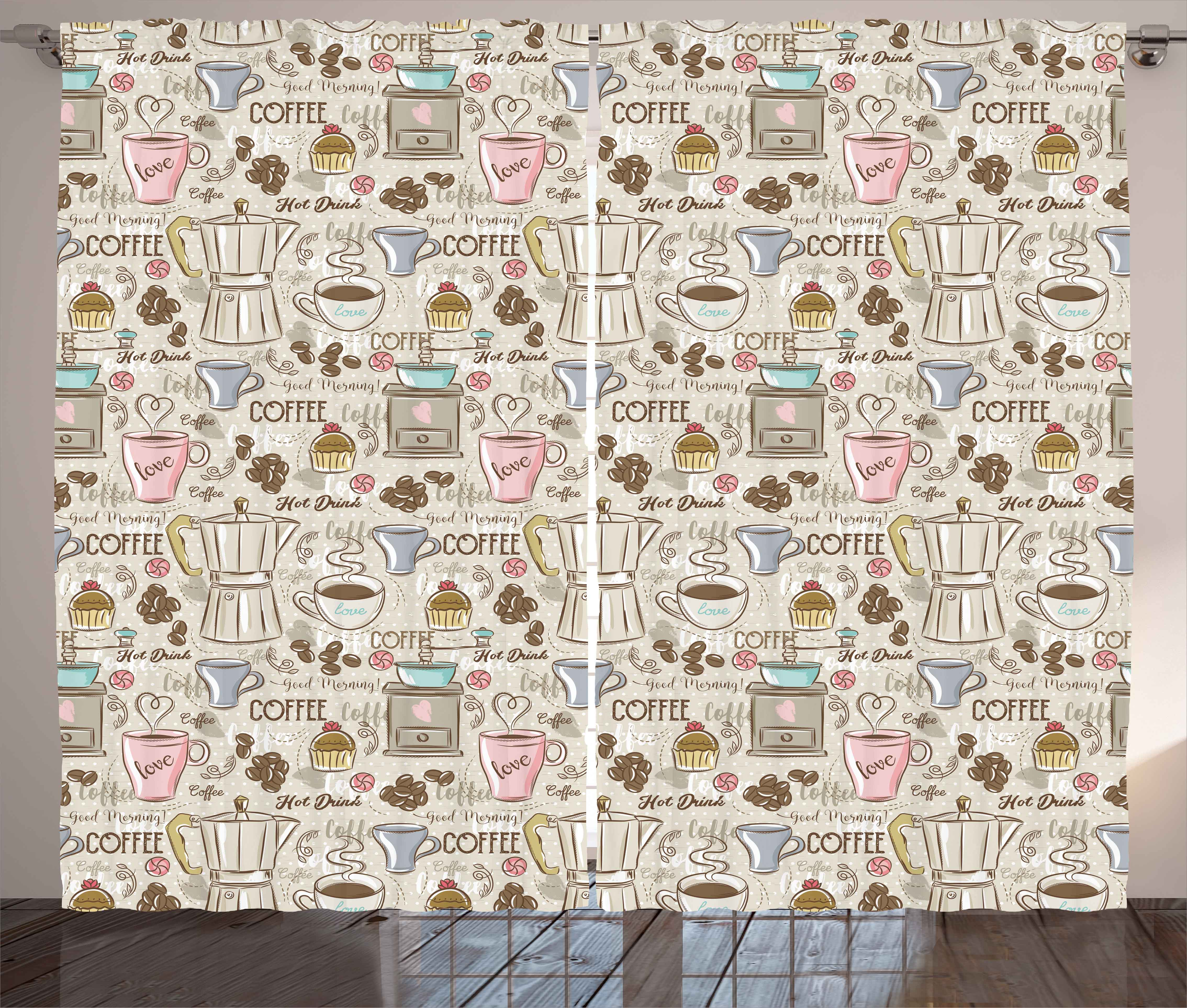 Click here to buy Modern Curtains 2 Panels Set, Coffee Time Vintage Espresso Machine Cupcakes Beans Cute Design, Window Drapes for Living Room Bedroom, 108W X... by Kozmos.