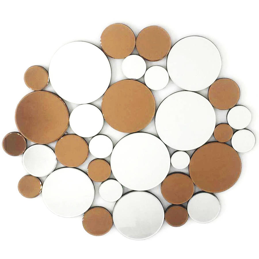 "Fab Glass and Mirror COINS IN THE FOUNTAIN Round Decorative Wall Mirror Design, 35.5""L x 40.5""W"
