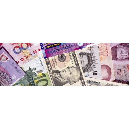 Close-up of assorted currencies of different countries Canvas Art - Panoramic Images (36 x (List Of Currencies Of Different Countries With Images)