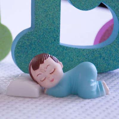 2 Blue Pajama Smiling Baby Boy Sleeping Pillow Baby Shower Bakery Cake Topper](Dallas Cowboys Baby Shower Cake)