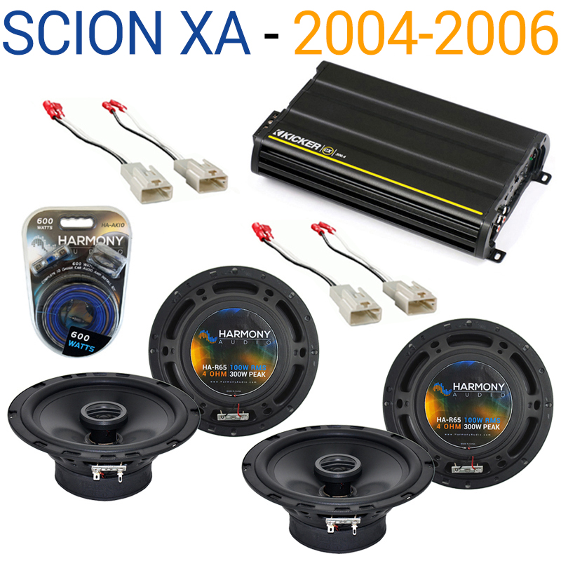 Scion xA 2004-2006 Factory Speaker Replacement Harmony (2) R65 & CX300.4 Amp - Factory Certified Refurbished