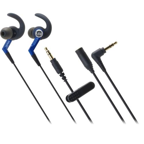 Audio-Technica ATH-CKP500 SonicSport In-ear Headphones - Stereo - Blue - Mini-phone - Wired - 16 Ohm - 20 Hz 23 kHz - Ea