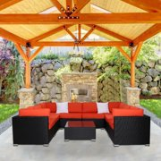 Kinbor 9pcs Outdoor Patio Furniture Sectional Pe Wicker Rattan Sofa Set Orange