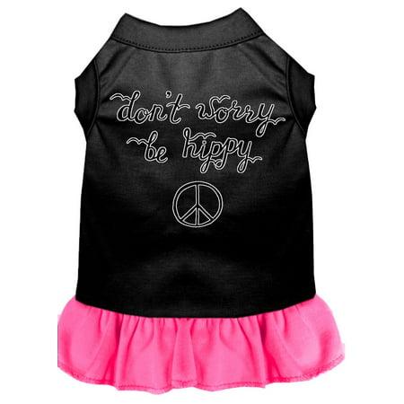 Be Hippy Screen Print Dog Dress Black With Bright Pink Sm 10