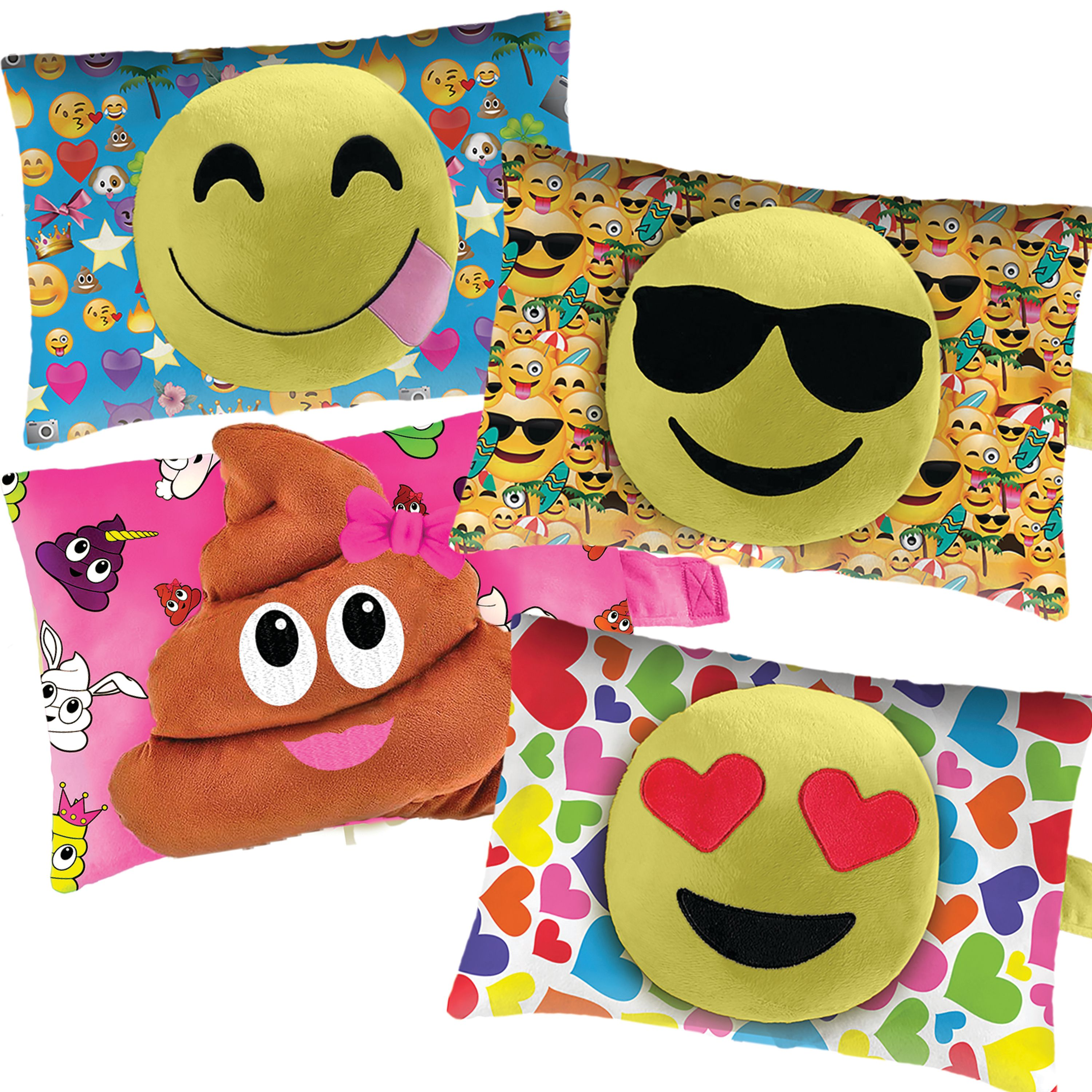 Pillow Pets Smiley Combo 4-Pack-Smiley, Stinky, Hearts, & Sunglasses Smiley Faces