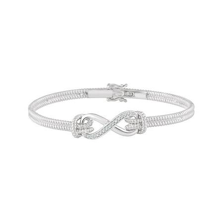 Diamond Bow Bangle Bracelet (14K White 1/8 CTW Diamond Bangle 7.5