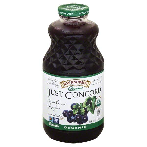 R.W. Knudsen Family Organic Just Concord Grape Juice, 32-Fluid Ounce