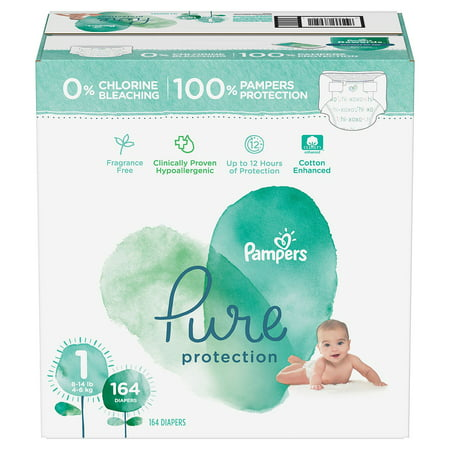 [Best Clinically proven hypoallergenic Diaper] - Pampers Pure Protection Diapers, Size 1, 164 count -  premium cotton and soft plant-based