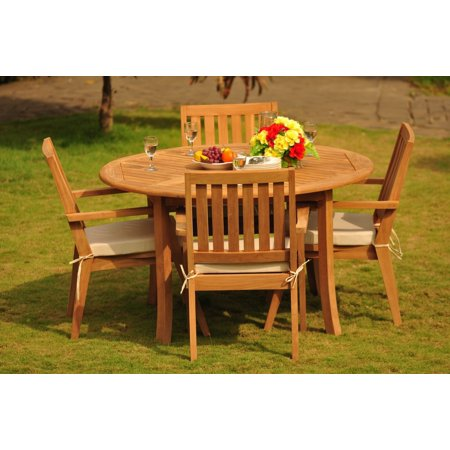 52 Round Table.Teak Dining Set 4 Seater 5 Pc 52 Round Table And 4 Palmer Stacking Captain Arm Chairs Outdoor Patio Grade A Teak Wood Wholesaleteak Wmdspmg