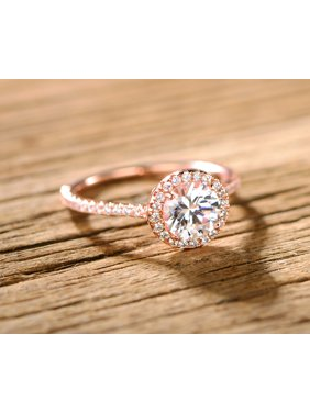 Rose Gold & CZ Halo-Cut Engagement Ring