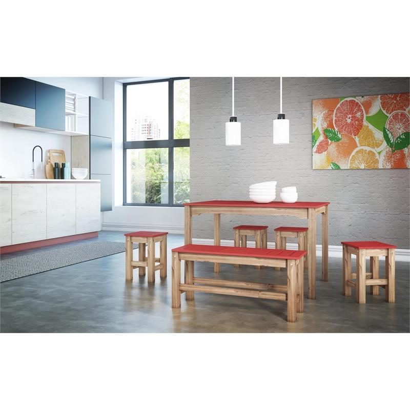 """6-Piece Stillwell 47.25""""  Dining Set 1.0 in Red and Natural Wood"""