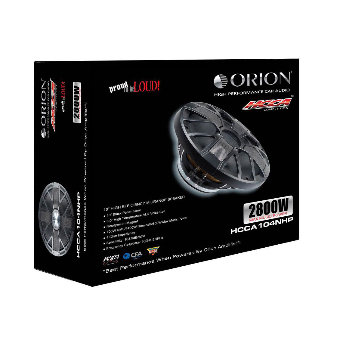 "Orion HCCA-104NHP Hcca 10"" Super Midrange Ultra High Efficiency Speaker 2800W Max"