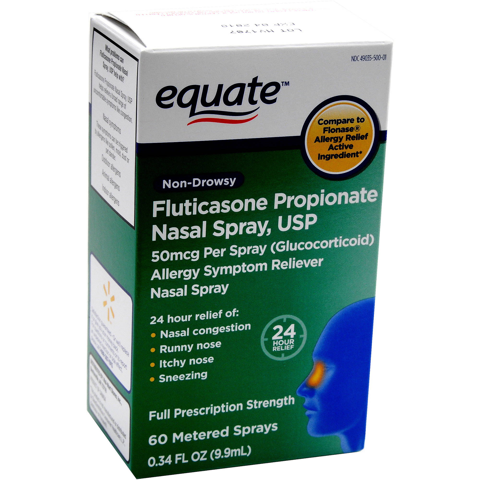 Equate Non-Drowsy Fluticasone Propionate Nasal Spray, 60 Ct, 0.34 Oz