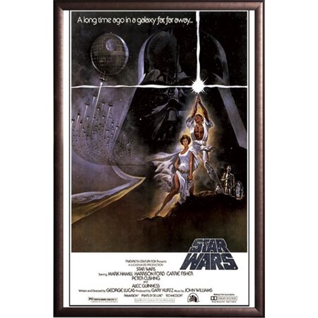 FRAMED Star Wars - A New Hope (Style A) 24x36 Poster in Real Wood Premium Copper Rust Finish Crafted in USA