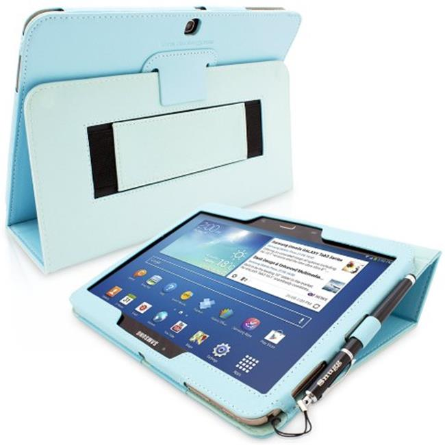 Snugg B00EQ6JKEG Galaxy Tab 3 10. 1 Case Cover and Flip Stand, Baby Blue Leather