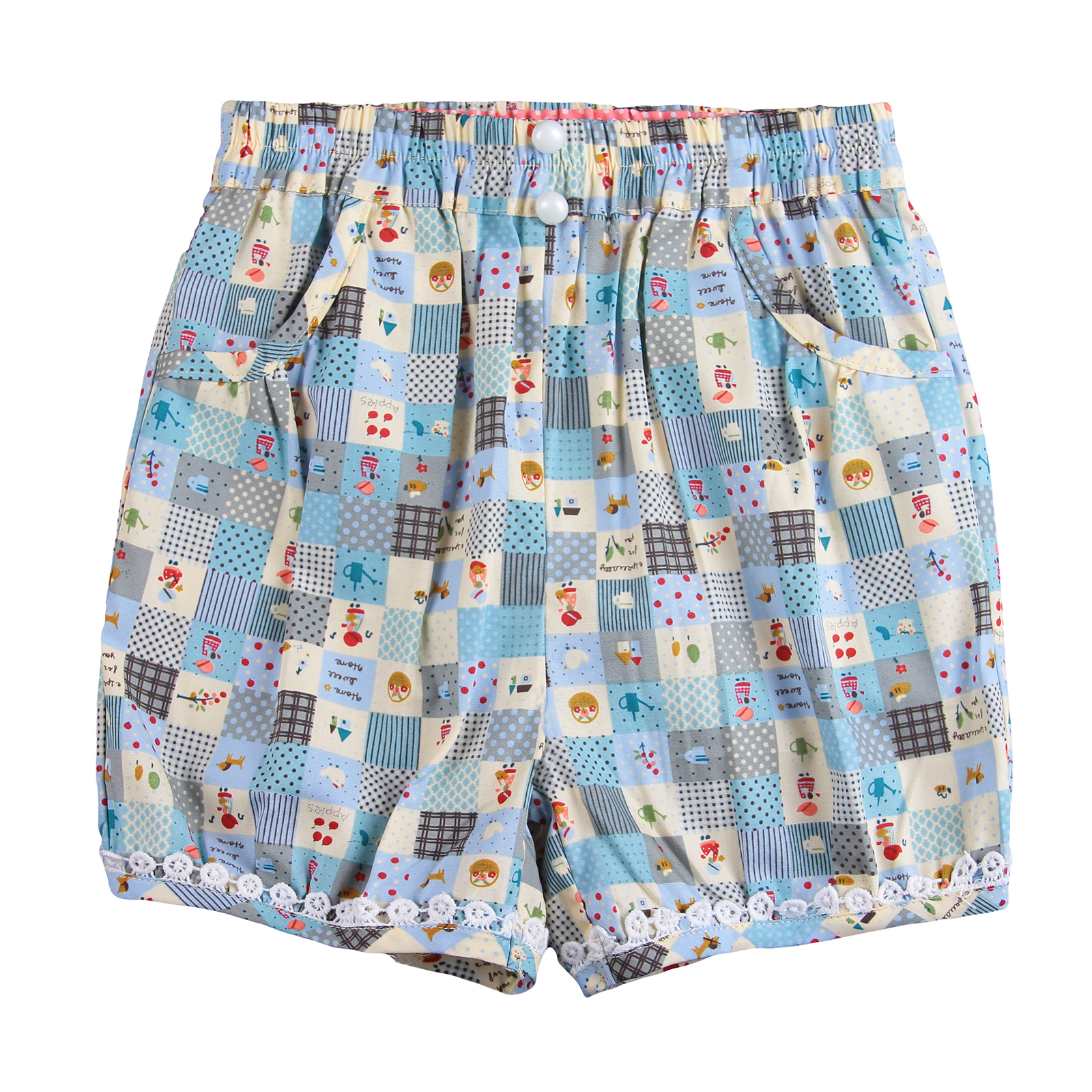 Image of Richie House Girls' Home Sweet Home Quilt-Style Shorts RH0276