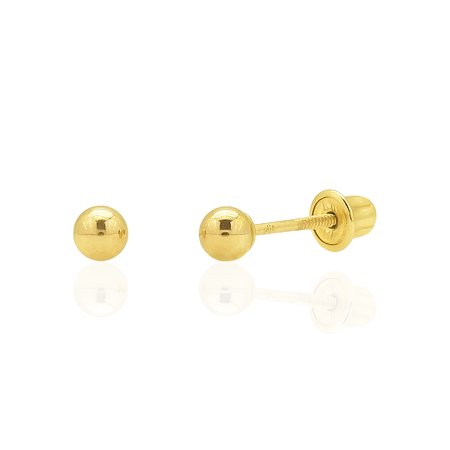 14k Solid Yellow Gold High Polish Screw Back Small Round Ball Stud Earrings 3mm
