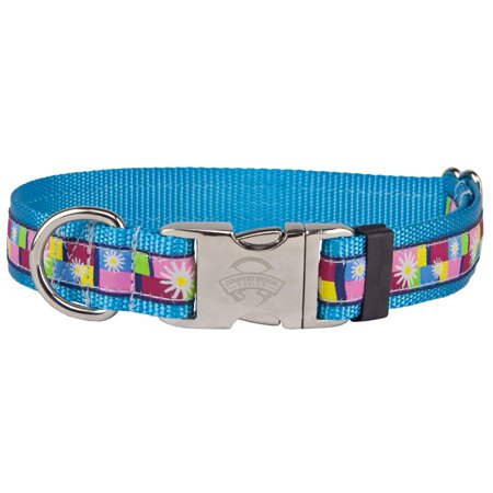 Country Brook Design® Premium Daisy Blocks Woven Ribbon on Ice Blue Dog Collar Limited Edition ()