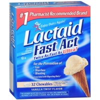 LACTAID Fast Act Chewables Vanilla Twist 32 Tablets (Pack of 2)