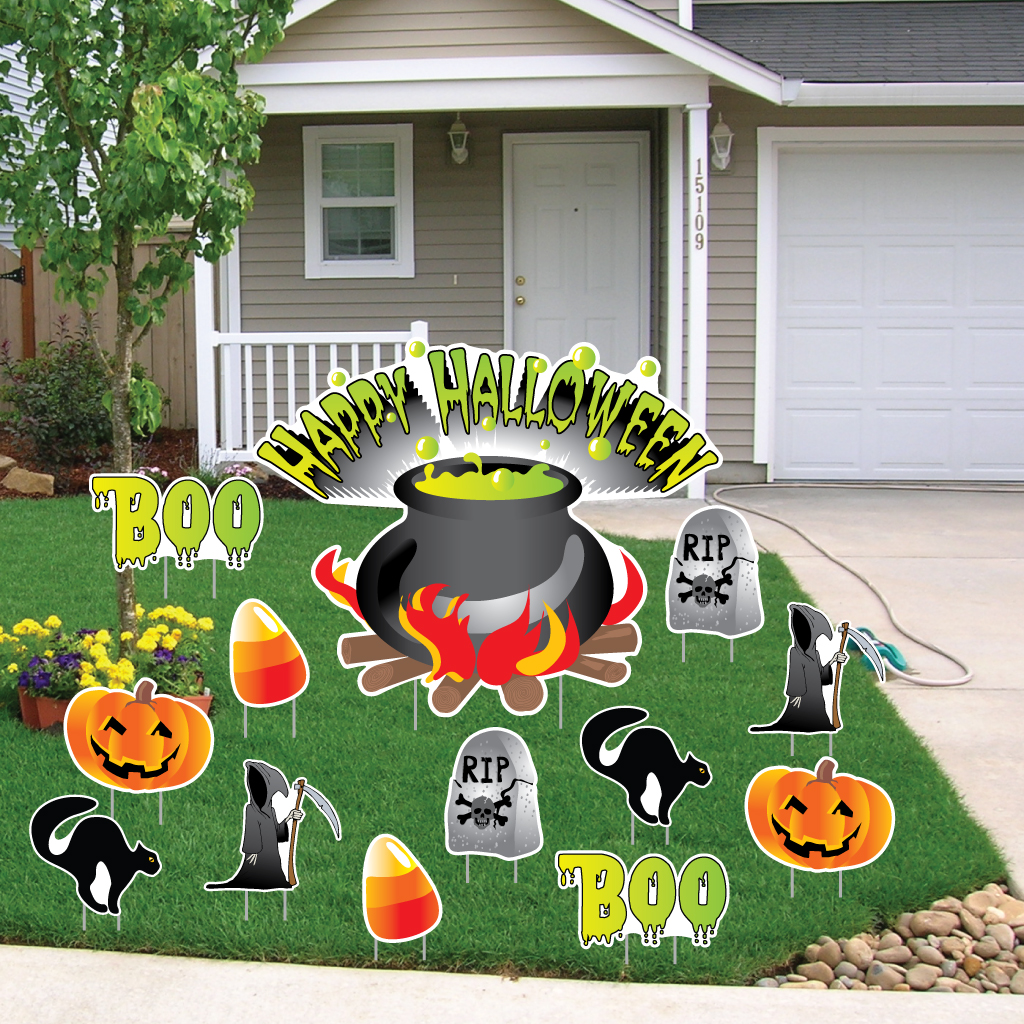 Happy Halloween Cauldron Halloween Lawn Decoration set of 13 w/ 24 Short Stakes