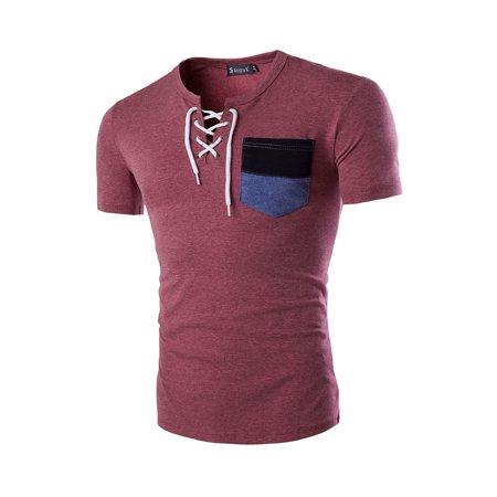 Men Round Neck Patch Pocket Short Sleeves -