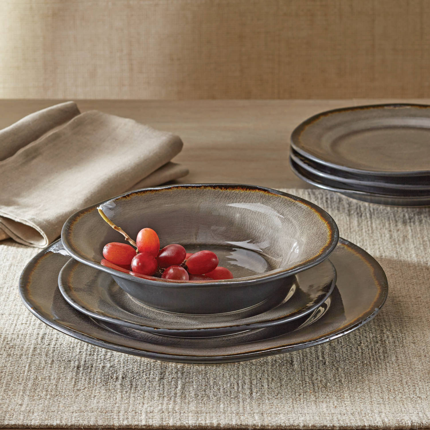 Better homes and gardens bramley gray crackle glaze 12 - Better homes and gardens dish sets ...