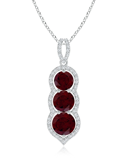 January Birthstone Pendant Necklaces Graduated Floating Three Stone Garnet Pendant in 950 Platinum (6mm Garnet)... by Angara.com