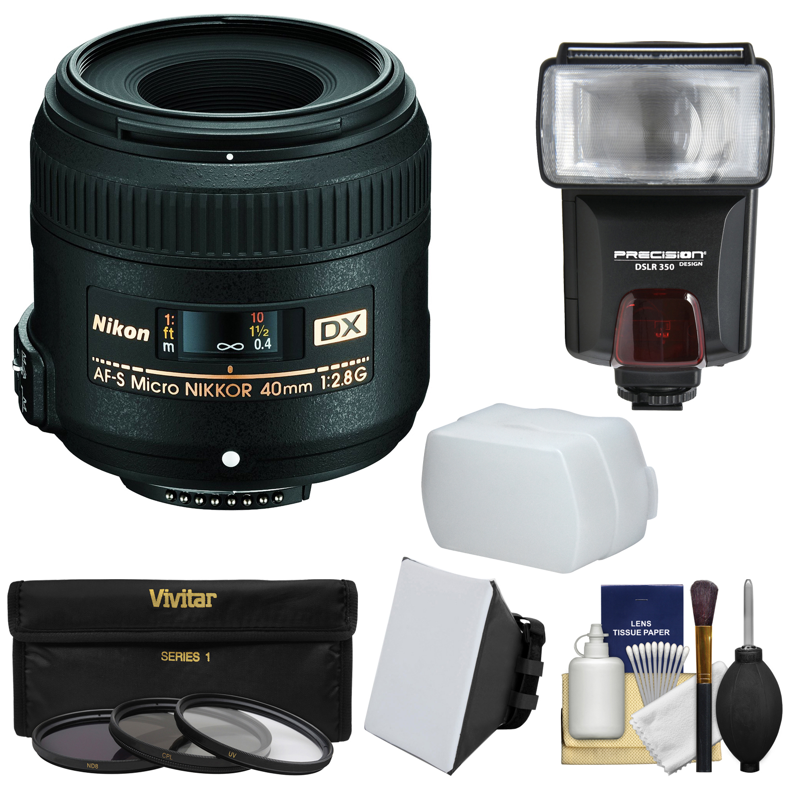 Nikon 40mm f/2.8 G DX AF-S Micro-Nikkor Lens with 3 Filters + Flash & 2 Diffusers + Kit for D3200, D3300, D5300, D5500, D7100, D7200 Cameras