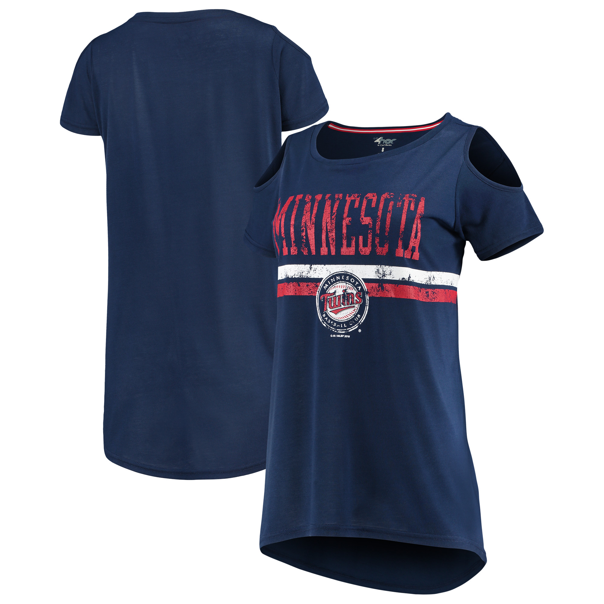 Minnesota Twins G-III 4Her by Carl Banks Women's Clear the Bases Scoop Neck T-Shirt - Navy