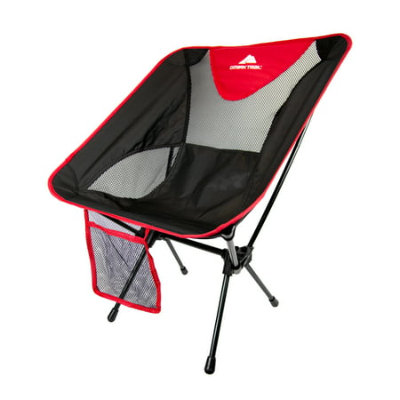 Ozark Trail Himont Oversized Camp Lite Chair for Camping enjoying Outdoors, Black and Red