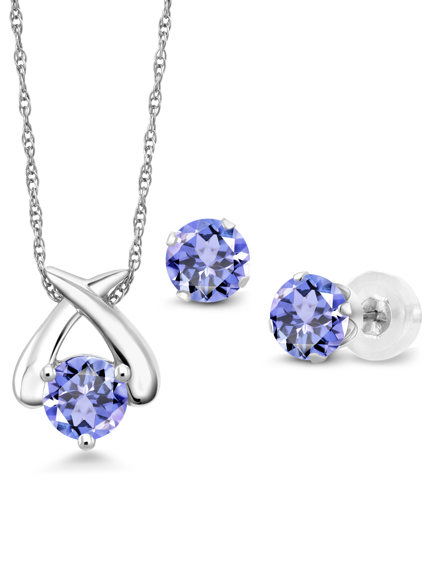 1.38 Ct Round Blue Tanzanite 10K White Gold Pendant Earrings Set With Chain by
