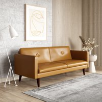 Serta Laurel 3-Seat Mid-Century Convertible Sleeper Sofa with Vegan Leather