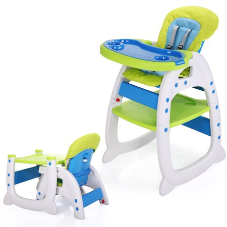 Jaxpety Baby High Chair Table 3 in 1 Convertible Play Seat Booster Toddler with Tray,