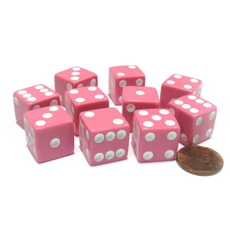 Koplow Games Set of 10 Six Sided Square Opaque 16mm D6 Dice - Pink with White Pip Die - Pink Fluffy Dice