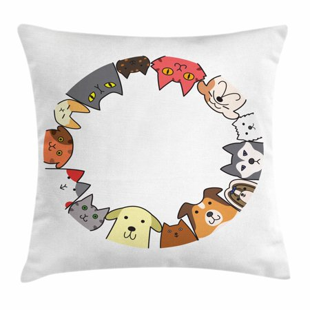 Cat Lover Throw Pillow Cushion Cover, Friendly Cats and Dogs Circle Together Happy Faces Illustration Cartoon Style, Decorative Square Accent Pillow Case, 24 X 24 Inches, Multicolor, by Ambesonne
